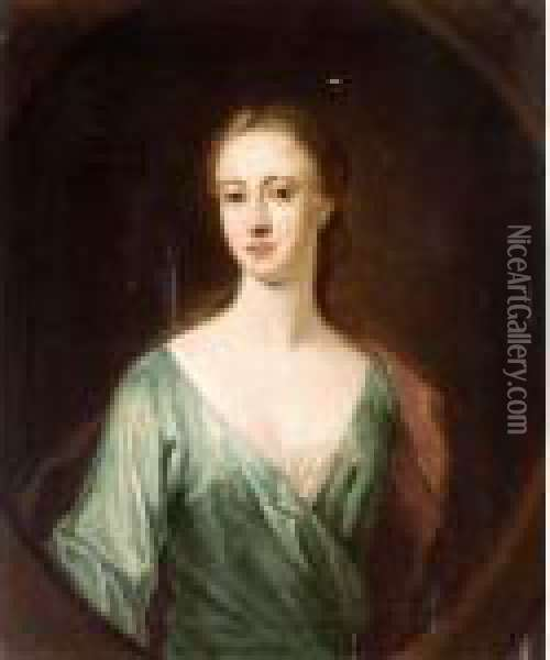 Portrait Of A Lady, Said To Be  Mrs Mcfarlane, Daughter Of Lord Halbett Of Pitfirrane; Portrait Of A  Lady Oil Painting - William Aikman