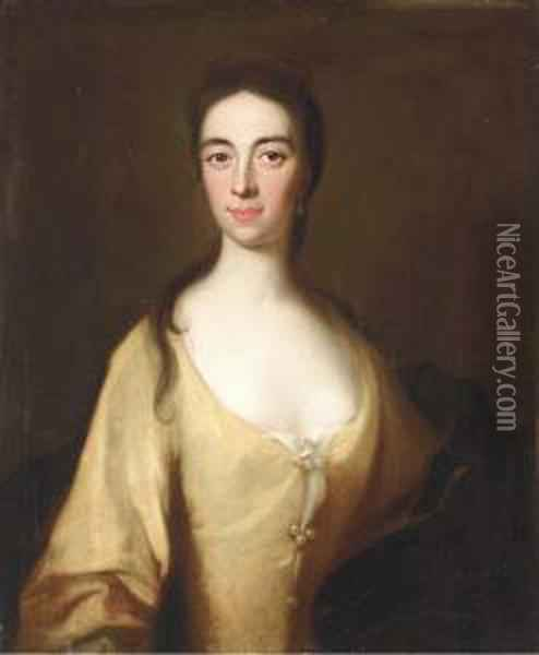 Portrait Of A Lady, Said To Be Mrs. David Bruce, Half-length, In Ayellow Dress Oil Painting - William Aikman