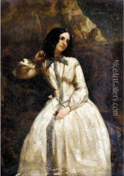 Lady In A White Dress Oil Painting - William Aikman