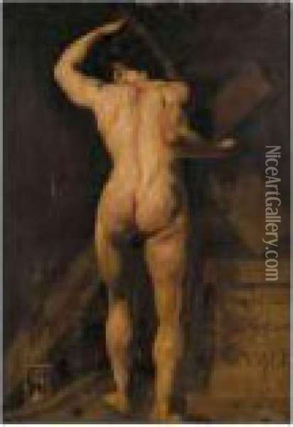 Study Of A Male Nude, Holding A  Cross, With A Hour Glass By His Feet, And A Plinth To The Right Oil Painting - William Aikman