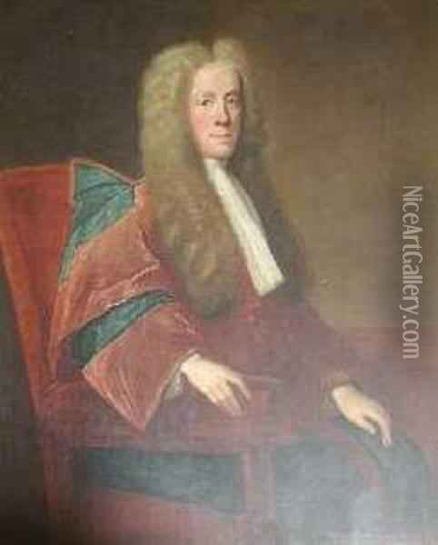 Three Quarter Length Portrait Of Sir Hew Dalrymple, President Ofthe C Oil Painting - William Aikman