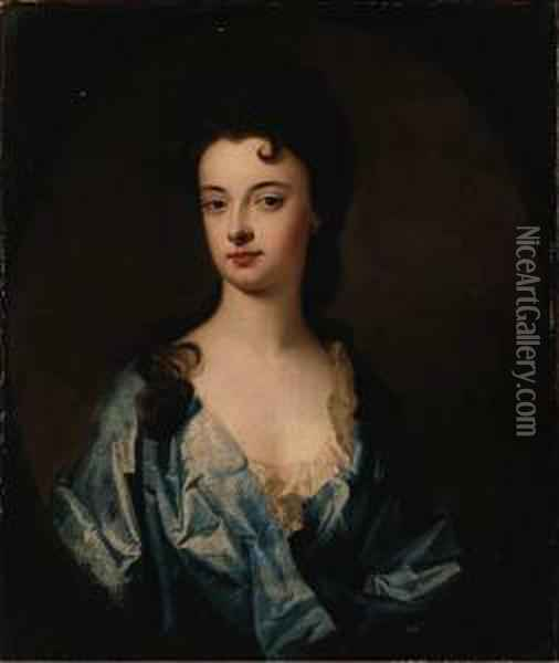 Portrait Of A Lady, Said To Be  The Countess Of Dorchester, Halflength, Wearing A Blue Dress, In A  Painted Oval Oil Painting - William Aikman