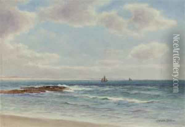 Off The Mary Coast (illustrated); And Clawsey Beach, Port St, Mary, Isle Of Man Oil Painting - James Aitken
