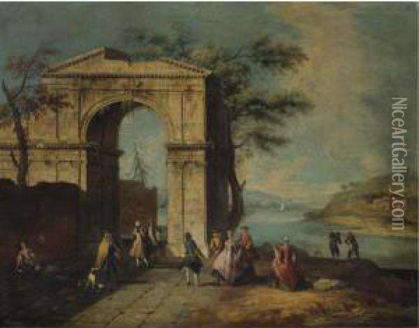 Elegant Figures Standing By A Classical Arch Oil Painting - Francesco Albotto