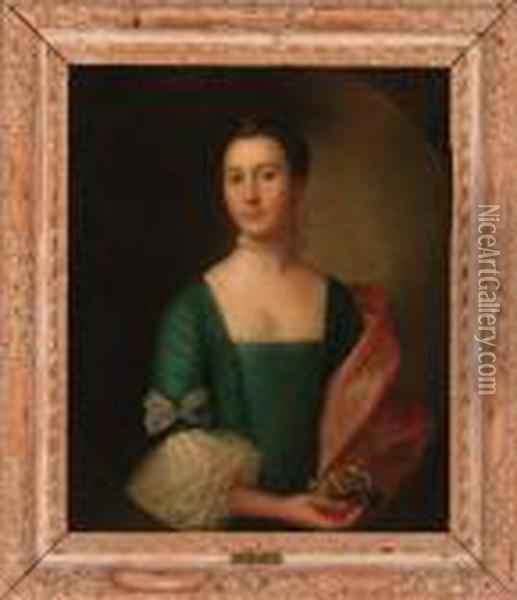 Portrait Of A Lady Traditionally  Identified As Lady Jessiedumphries, Half-length, In A Blue Dress And  Red Wrap, Wearing Apearl Choker And Hairpiece, Holding A Posey In Her  Right Hand, In Afeigned Oval Oil Painting - Cosmo Alexander
