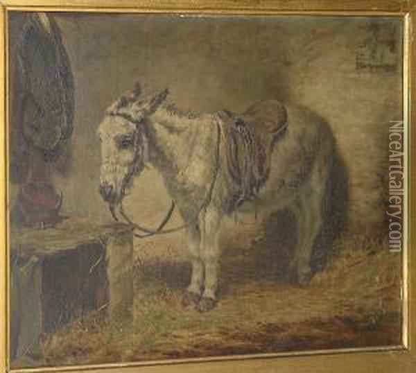 Donkey In A Stable Oil Painting - Robert L. Alexander