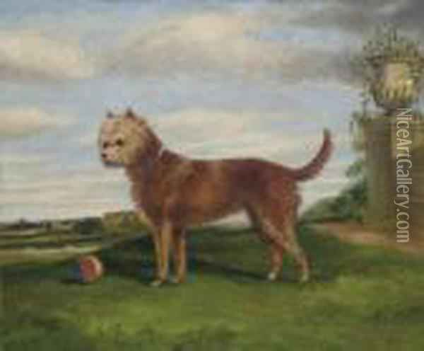 A Terrier With A Ball In An Extensive Landscape Oil Painting - Herny Jr Alken