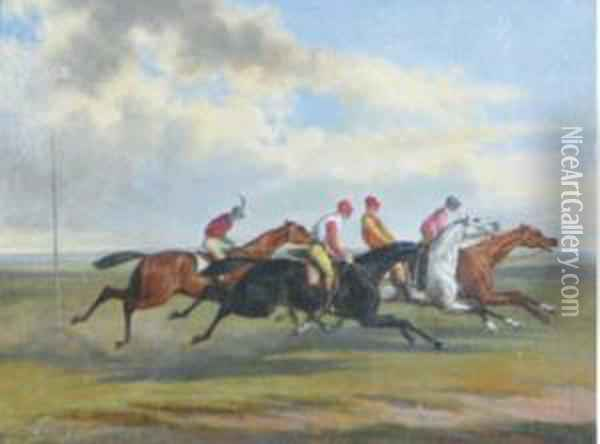 The Epsom Derby; Before The Start And The Finish Oil Painting - Herny Jr Alken