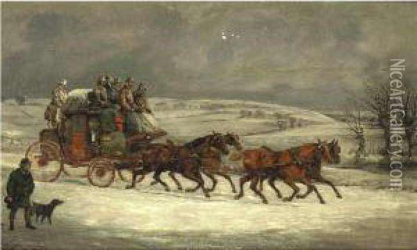 Mail Coach In The Snow Oil Painting - Herny Jr Alken