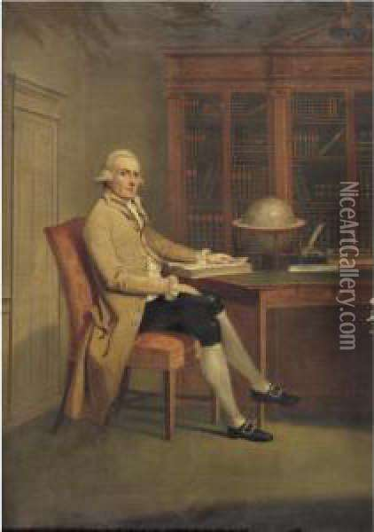 Gentleman In A Library Oil Painting - David Allan