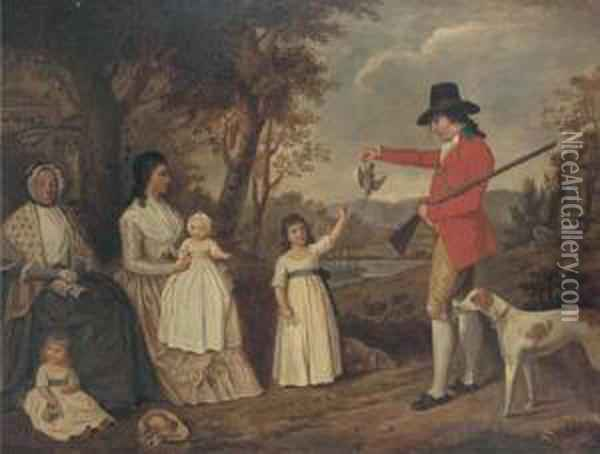 A Group Portrait Of The Spreull Family At Charing Cross Oil Painting - David Allan