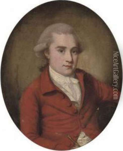 Portrait Of A Gentleman,  Half-length, In A Red Coat And White Ruff, Holding A Riding Crop In His  Right Hand, Painted Oval Oil Painting - Francis Alleyne