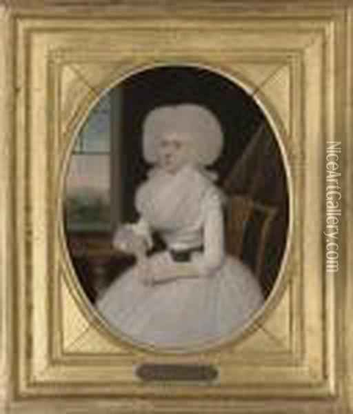 Portrait Of A Lady, Three-quarter-length, In A White Dress Oil Painting - Francis Alleyne