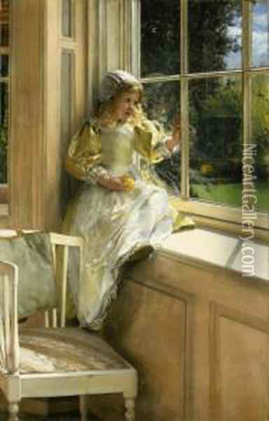 A Looking Out O'window (sunshine) Oil Painting - Laura Theresa Epps Alma-Tadema