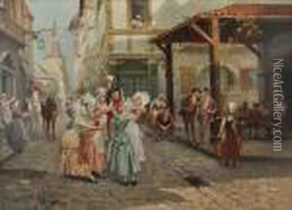 Arrival Of The Letter Carrier Oil Painting - Alonso Perez