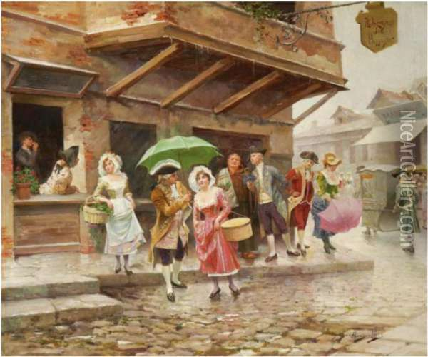 Paseo Matinal (a Morning Walk) Oil Painting - Alonso Perez