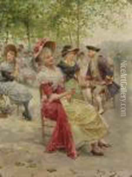Ladies And Gentlemen Seated In A Park Oil Painting - Alonso Perez