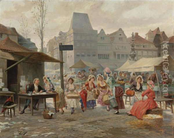 Waiting For The Clerk Oil Painting - Alonso Perez