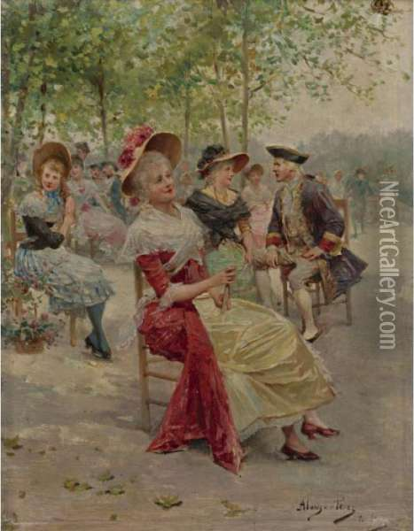 An Afternoon In The Park Oil Painting - Alonso Perez