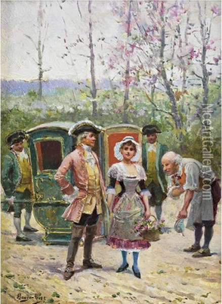 In Front Of The Sedan Chair Oil Painting - Alonso Perez