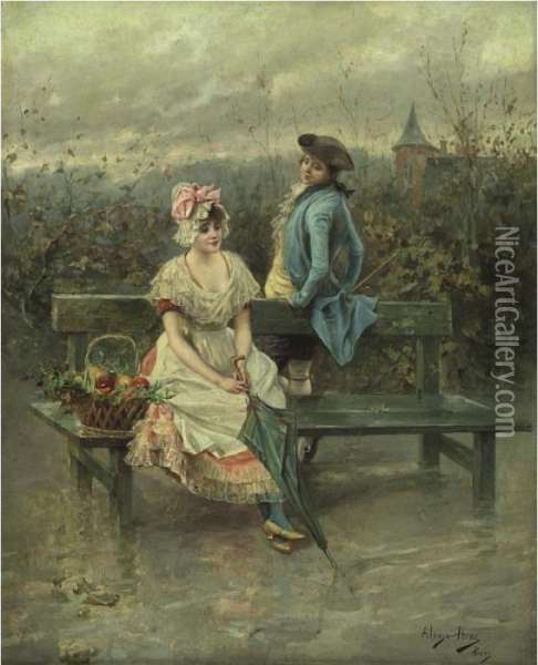 Courting In The Park Oil Painting - Alonso Perez