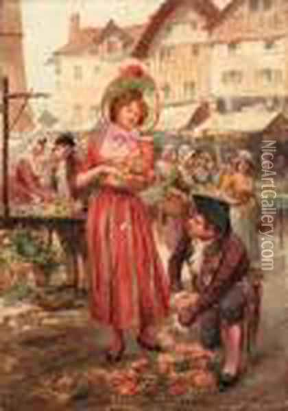 The Flower Market Oil Painting - Alonso Perez