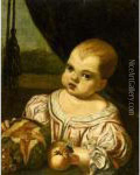 Portrait Of A Child, Half Length, Wearing A Pink Silk Dress And Holding A Melon Oil Painting - Antonio Amorosi