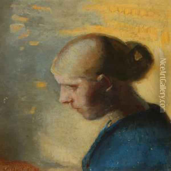 Portrait Of A Young Blond Girl In A Blue Dress With Her Hairin A Bun Oil Painting - Anna Ancher