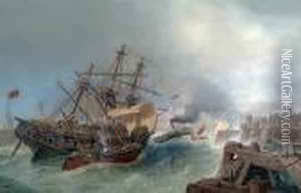 A Ship Entering Calais In Rough Sea Oil Painting - Henry Andrews