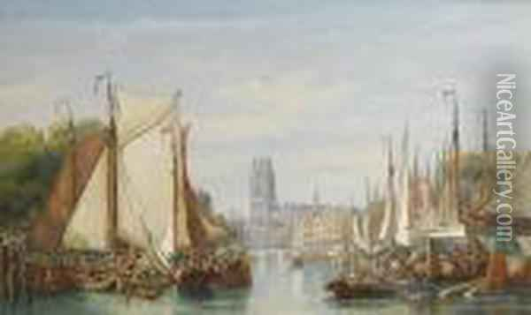The Port Of Rotterdam Oil Painting - Henry Andrews