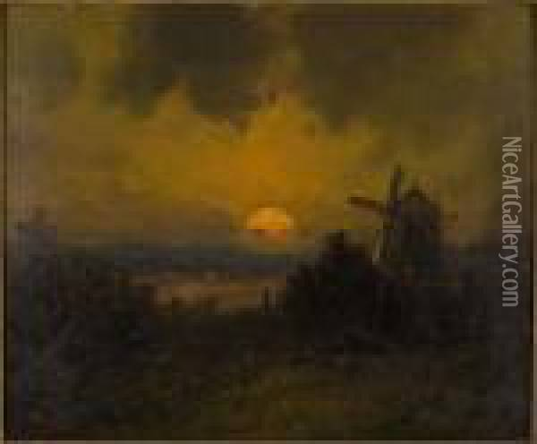Moonlight, Oil On Board,  Depicting A Windmill In A Landscape, Signed Lower Left. Framed: 13 In. X  15 In Oil Painting - Henry Andrews
