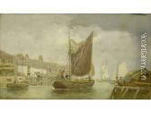 Harbour Scene With Fishing Boats Returning Oil Painting - Henry Andrews