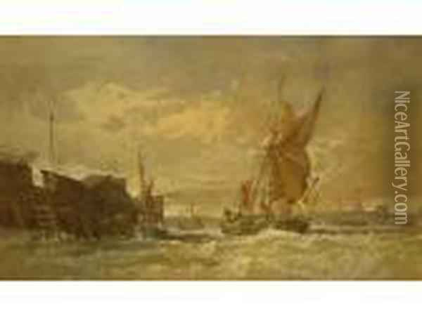 Shippingin Heavy Seas Off The Coast, Signed Oil Painting - Henry Andrews
