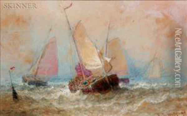 Craft In Brisk Sea Oil Painting - Henry Andrews