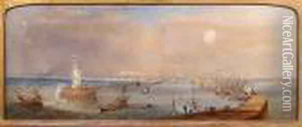 Lowestoft Harbour Oil Painting - Henry Andrews