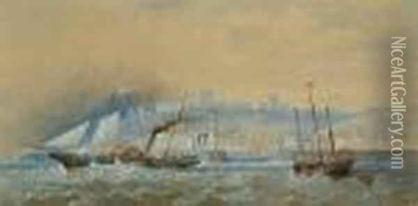 Folkestone From The Sea Oil Painting - Henry Andrews