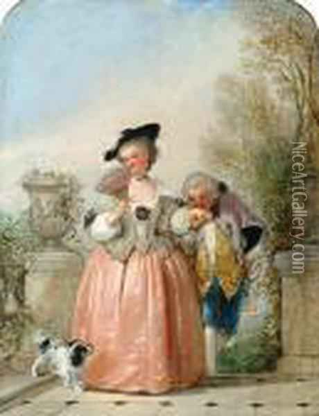 Portrait Of A Lady And Her Admirer Oil Painting - Henry Andrews