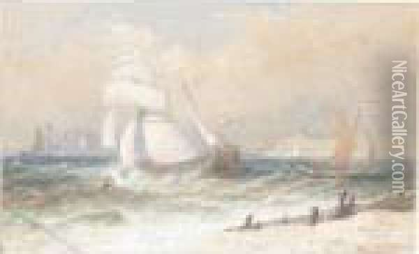 Shipping In Rough Seas Oil Painting - Henry Andrews