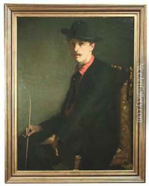 Portrait Of A Gentleman Wearing A  Black Dress And A Hat, Assumedly Portrait Of The Art Critic Camille  Mauclair As A Young Man. Oil Painting - Alfred Louis Andrieux