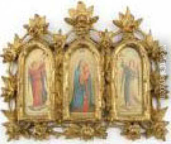 Mary And Jesus Flanked By Angels Oil Painting - Fra Angelico (Guido di Pietro)