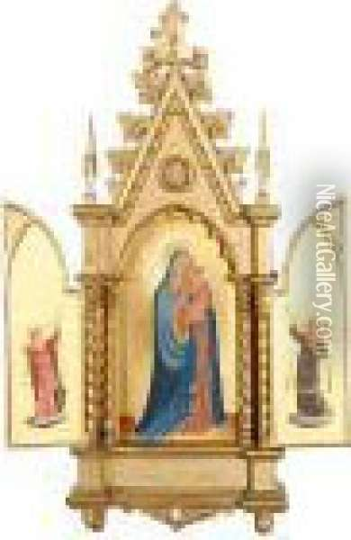 A Triptych With The Madonna And Child Flanked By Angels Oil Painting - Fra Angelico (Guido di Pietro)