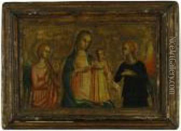 Madonna And Child With Archangels Gabriel And Michael Oil Painting - Fra Angelico (Guido di Pietro)
