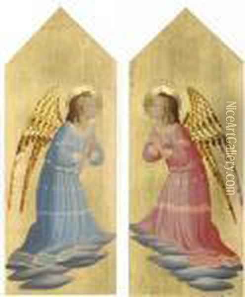 An Angel In Adoration; And An Angel In Adoration Oil Painting - Fra Angelico (Guido di Pietro)