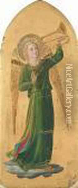 An Angel Sounding A Trumpet Oil Painting - Fra Angelico (Guido di Pietro)