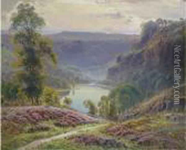 The View Down To The Lake At Dusk Oil Painting - Gaston Anglade