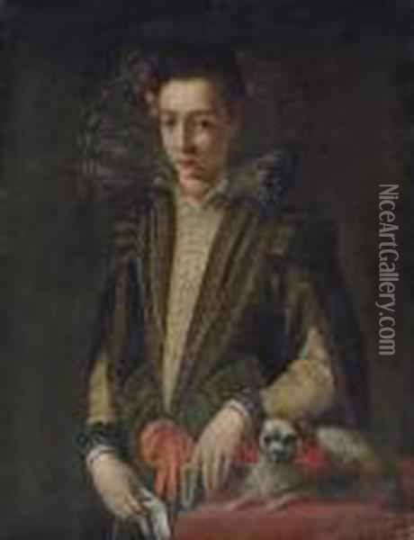 Portrait Of A Girl,  Three-quarter-length, In A Black And Gold Embroidered Dress With A Lace  Collar, A Book In Her Left Hand, A Handkerchief In Her Right, A Dog By  Her Side Oil Painting - Sofonisba Anguissola