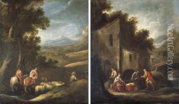 Jacob And His Household Journeying To Meet Esau Oil Painting - Francisco Antolinez Y Ochoa