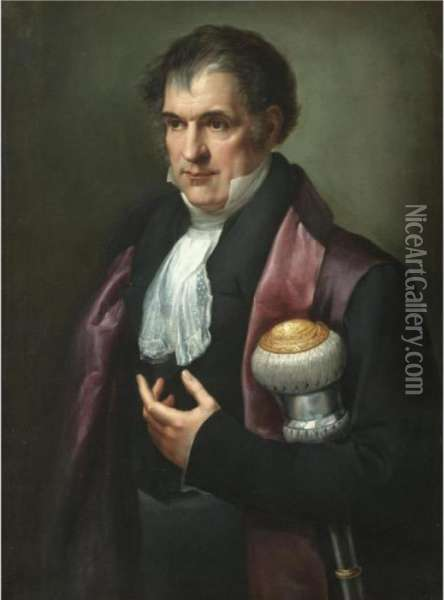 Portrait Of A Dignitary, Half Length, Holding A Mace Of Office Oil Painting - Andrea, the Elder Appiani