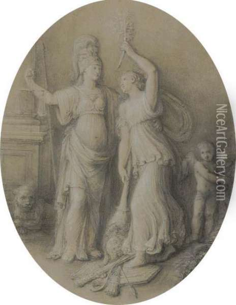 An Allegory Of Peace Setting Fire To A Military Trophy Oil Painting - Andrea, the Elder Appiani