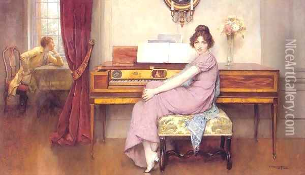 The Reluctant Pianist Oil Painting - William A. Breakspeare